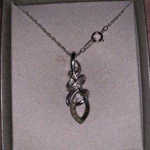 Zales sterling silver pendant w/ diamonds accents